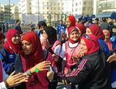 """بالصور.. بنات """"القناة"""" يفزن على """"حلوان"""" فى خماسى القدم بأسبوع شباب الجامعات"""