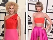 "بالصور..مقارنة بين تايلور سويفت وكيمبرلى شلابمان لتشابه فستانهما بـ""الجرامى"""