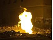 اشتعال النيران بخط الغاز الطبيعى بالعمرانية