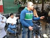 معاقو محافظة القاهرة يتظاهرون أمام مجلس الوزراء للمطالبة بالتسكين