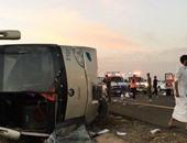 مصرع 6 معتمرين أردنيين وإصابة 38 بجروح فى انقلاب حافلة جنوب الأردن
