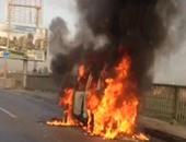 حريق يلتهم سيارة ملاكى بشارع خاتم المرسلين بالعمرانية