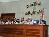 بالصور.. اجتماع محافظ ومدير أمن مطروح بمجلس العمد والمشايخ