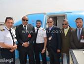 بالصور.. هبوط أول طائرة على الممر الجديد بمطار الغردقة الدولى