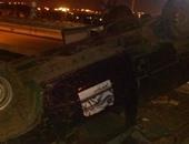 إصابة 18 شخصا إثر حادث انقلاب ميكروباص بالدائرى الإقليمى اتجاه السويس