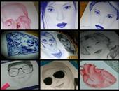 """""""صحافة المواطن"""": بالصور.. طالبة تشارك بلوحات تظهر موهبتها فى الرسم بالفحم"""