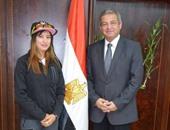 وزير الرياضة يستقبل ابتسام زايد أول لاعبة الدراجات تتأهل للأولمبياد