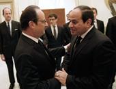 الرئيس السيسي وهولاند يصلان قصر القبة لعقد مباحثات ثنائية
