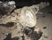 توقف الطريق الساحلى بالإسكندرية بسبب انقلاب سيارة محملة بمواد بناء