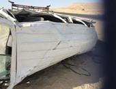 إصابة 9 أشخاص بحادث انقلاب سيارة على الطريق الصحراوى بالمنيا