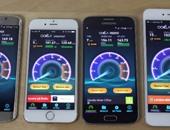 بالفيديو.. مقارنة بين هاتفى جلاكسى S6 وآى فون 6 فى سرعة الإنترنت