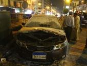 إخماد حريق نشب فى سيارة ملاكى أمام نادى القضاة بوسط البلد