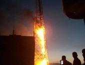 السيطرة على حريق هائل نشب فى برج محمول بالبحيرة