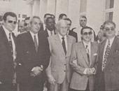 صورة نادرة.. هافيلانج رئيس الفيفا يزور مصر ويرافقه  حرب وزاهر وعمارة