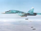 """انقلاب مقاتلة روسية من طراز """"سو-34"""" أثناء هبوطها"""