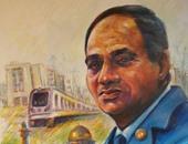 فنان تشكيلى يرسم الرئيس السيسى تقديرا لجهوده فى الارتقاء بالمجتمع المصرى