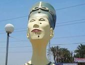 """الخميس.. وضع """"ادخلوها بسلام آمنين"""" بديلا عن تمثال نفرتيتى المشوه بسمالوط"""