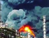 بالفيديو.. حريق وانفجار ضخم بمجمع للبتروكيماويات بمدينة معشور الإيرانية