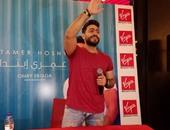 """تامر حسنى لجمهوره خلال حفله الغنائى بمهرجان تيميتار فى المغرب: """"شرفتونى"""""""