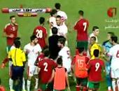 """بالفيديو.. اشتباكات عنيفة بين لاعبى تونس والمغرب فى ملعب """"رادس"""""""