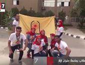بالفيديو.. تجمع الطلاب بجامعة حلوان لإطلاق شعلة أسبوع شباب الجامعات