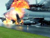 إصابة 20 راكبا إثر  اشتعال جناح طائرة أمريكية فى الولايات المتحدة