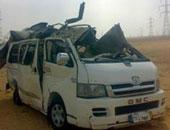 إصابة 10 عمال فى حادث انقلاب ميكروباص بالطريق الصحراوى فى الصف