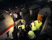 """انقلاب قطار بمحطة """"ناصر"""" ببنى سويف والدفع بـ 41 سيارة إسعاف لموقع الحادث"""