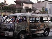 تفاصيل اشتعال النيران في ميكروباص بشارع العشرين بفيصل