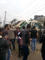بالصور.. توقف حركة الترام بمصر الجديدة بعد تصادم ترامين بمحطة هارون