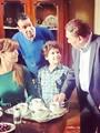 الزعيم عادل إمام ولقاء سويدان والمخرج وائل إحسان فى  كواليس مسلسل أستاذ ورئيس قسم